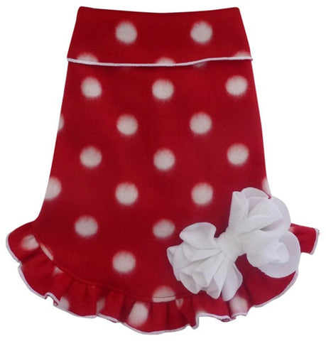 Cozy Holiday Fleece Red/White Polka Dot Pullover Ruffled Skirt Tank Dress with Bow - Daisey's Doggie Chic
