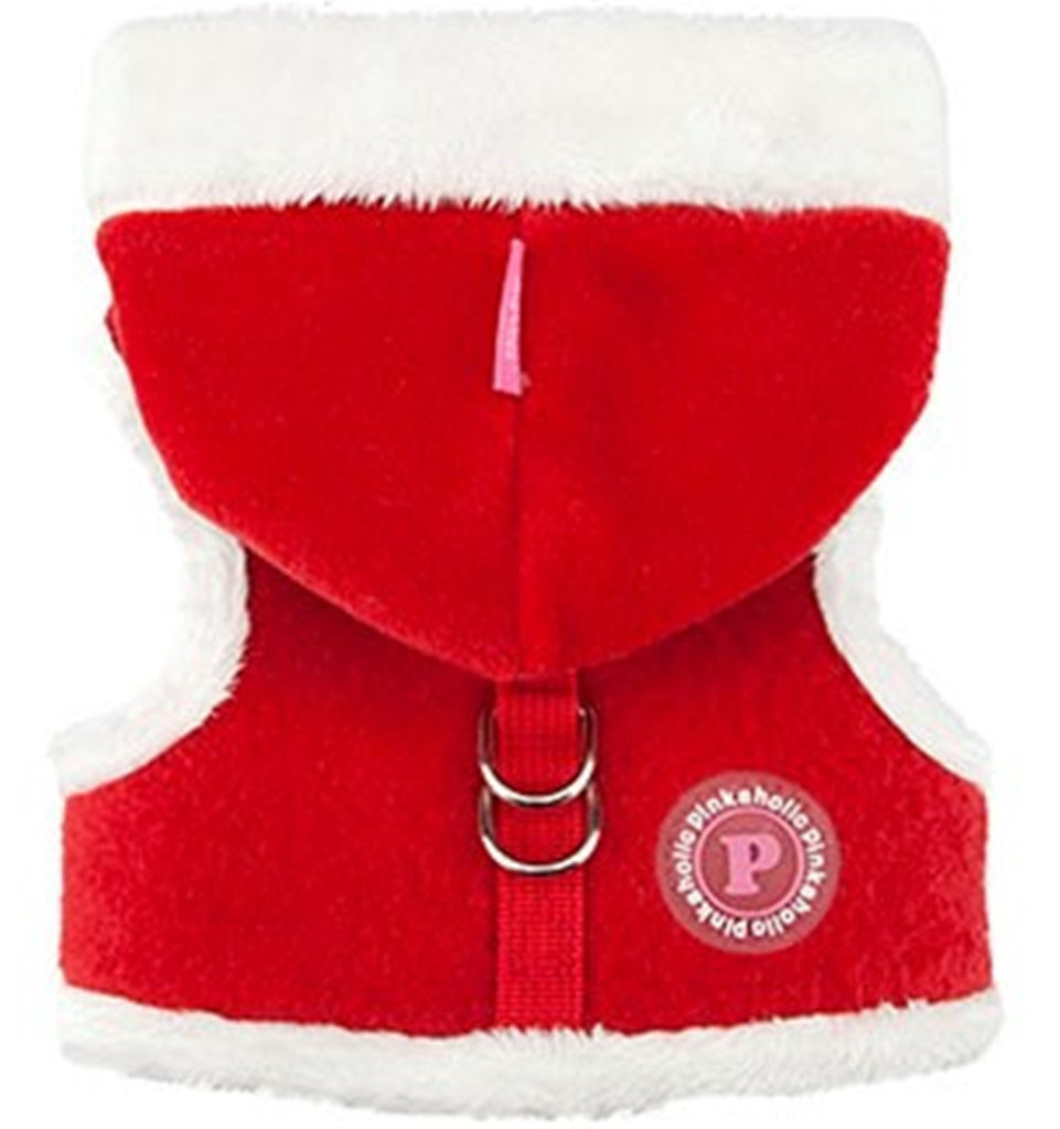 "Santa's Pinka ""Pinkaholic NY"" Holiday Hooded Harness Vest in color Red - Daisey's Doggie Chic"