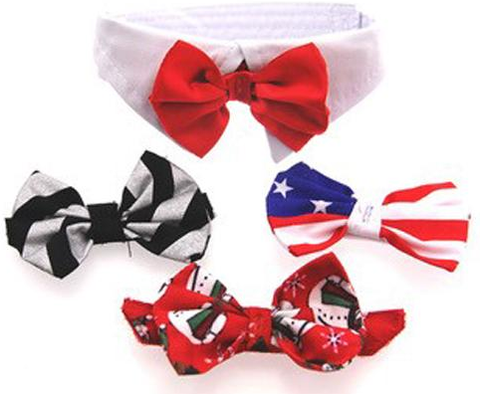 Satin Bow Tie and Dress-up Collar Bundled Set Comes with 4 Holiday Bow Ties - Daisey's Doggie Chic