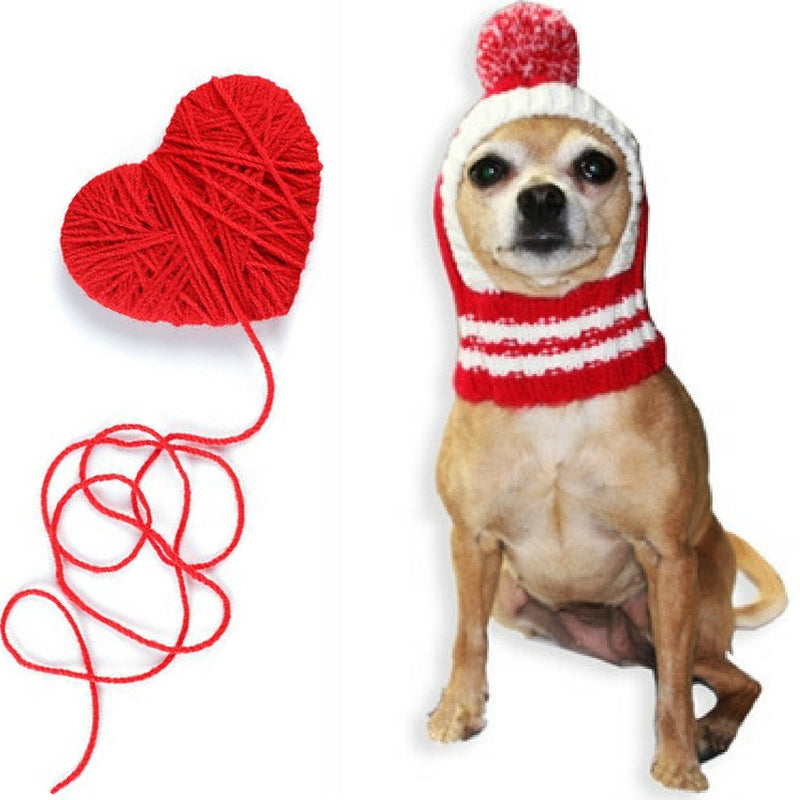 Crown Rib Knit Hat w/PomPom for Dogs in color Red - Daisey's Doggie Chic
