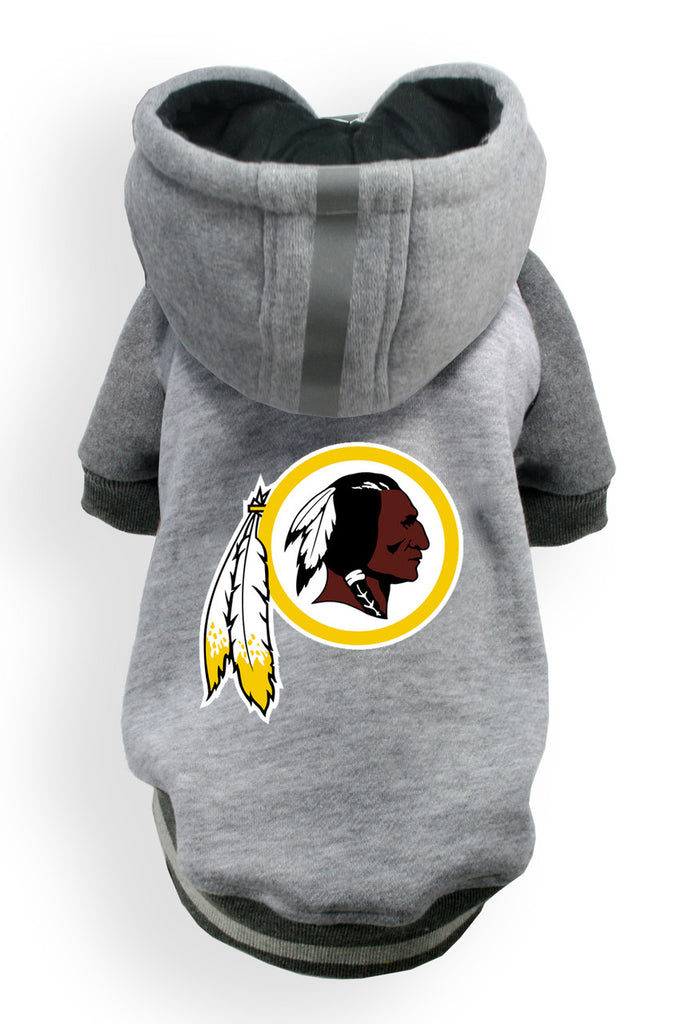 Washington REDSKINS NFL dog Helmet Hoodie in color Athletic Gray - Daisey's Doggie Chic