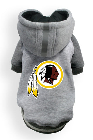 Washington REDSKINS NFL dog Helmet Hoodie in color Athletic Gray - Daisey's Doggie Chic - 1