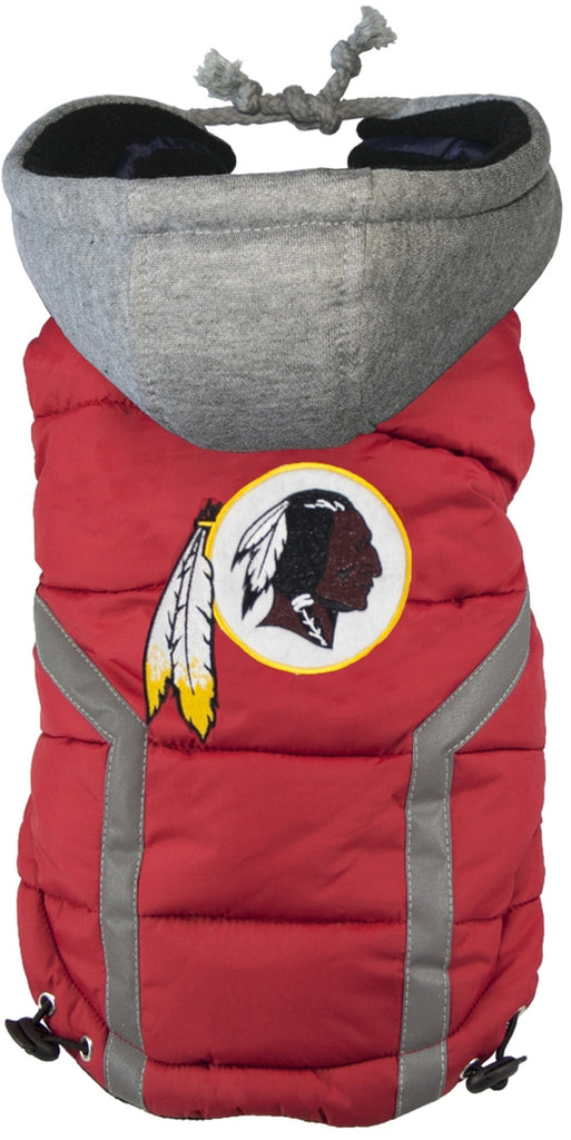 Washington REDSKINS  NFL dog Jacket (Puffer Vest) in color Burgundy - Daisey's Doggie Chic - 1