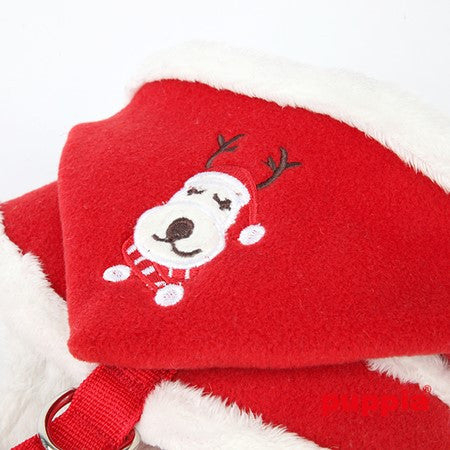 Rudolph Plush Choke-Free Fur Lined Hooded Halter Harness in Color Red - Daisey's Doggie Chic