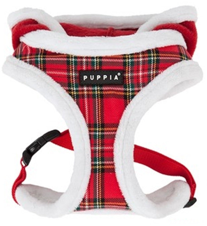 Rudolph Choke-Free Fur Lined Hooded Halter Harness - 2 Colors Plaid or Plush - Daisey's Doggie Chic