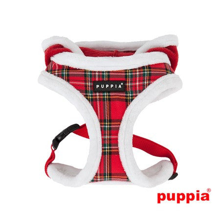 Rudolph Plush Choke-Free Fur Lined Hooded Halter Harness in Color Red Plaid - Daisey's Doggie Chic