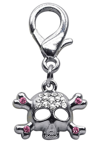Pink Rhinestone Skull with Crossbones Clip Charm - Daisey's Doggie Chic