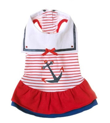 Sweet Sailor Ruffle Skirted Tank Dress in Nautical Red - Daisey's Doggie Chic - 1