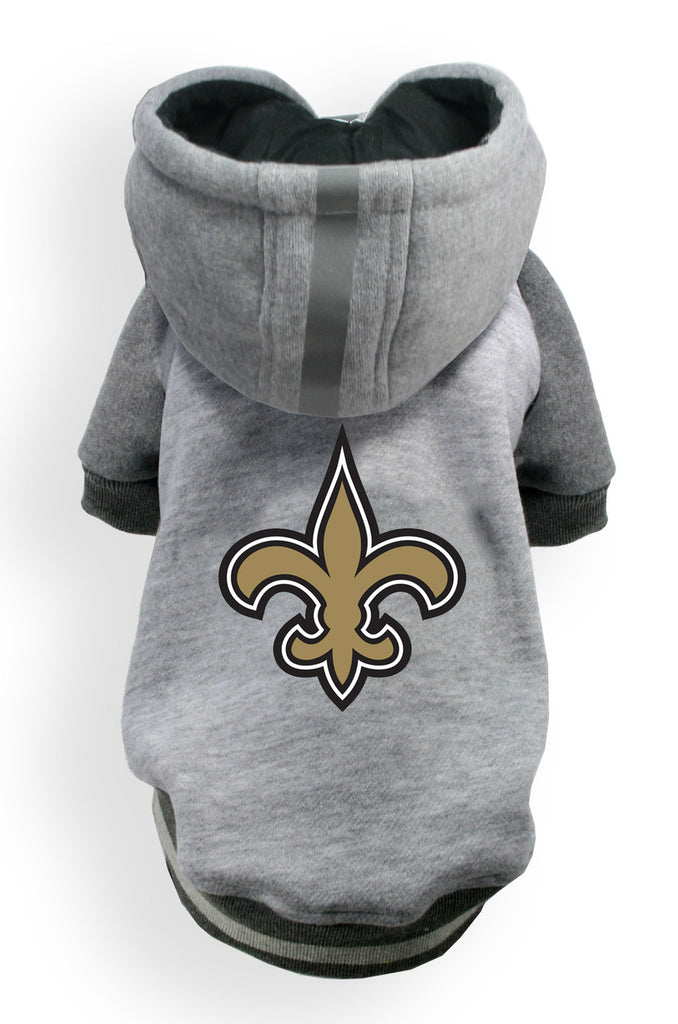 New Orleans SAINTS NFL dog Helmet Hoodie in color Athletic Gray - Daisey's Doggie Chic - 1