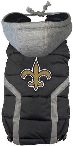 New Orleans SAINTS NFL dog Jacket (Puffer Vest) in color Black - Daisey's Doggie Chic - 1