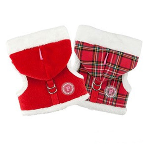 "Santa's Pinka ""Pinkaholic NY"" Holiday Hooded Harness Vest in Red Plush or Red Plaid - Daisey's Doggie Chic"