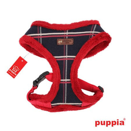 "Puppia ""Scholastic"" Choke-Free Faux Fur Lined Halter Harness in Color Navy/Red - Daisey's Doggie Chic"