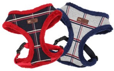 "Puppia ""Scholastic"" Choke-Free Faux Fur Lined Halter Harness in 2 Colors Navy/Red or Gray/Blue - Daisey's Doggie Chic"