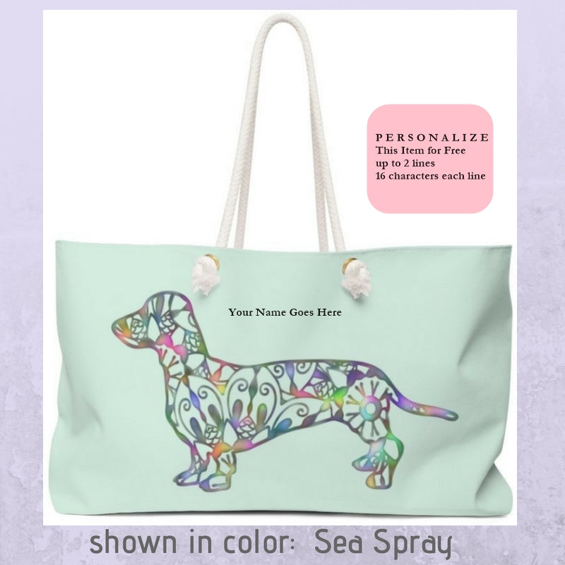 A Dachshund Weekender Bag - Color Sea Spray- Oversized Tote – Free Personalization - Daisey's Doggie Chic