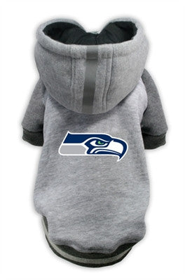 Seattle SEAHAWKS NFL dog Helmet Hoodie  in color Athletic Gray - Daisey's Doggie Chic - 1