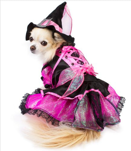 Shiny Pink Witch Dog Costume with Jewel Buckled Hat - Daisey's Doggie Chic