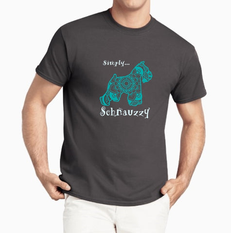 Schnauzzy - Schnauzer Themed - Deluxe Crewneck T-Shirt - Adult (Unisex) Sizes S,M,L,XL,2XL in 19 colors - Daisey's Doggie Chic
