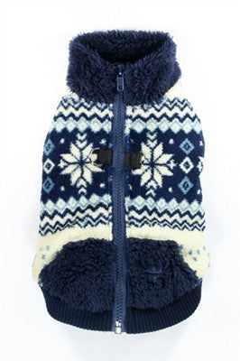 Snowflake Plush Polar Fleece Sweater Vest in color Navy Blue - Daisey's Doggie Chic