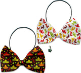 Cowboy Hats & Sombreros  - Fun Party Themed Bowtie 2-Pack set with Charm Accessory for Dogs or Cats - Daisey's Doggie Chic