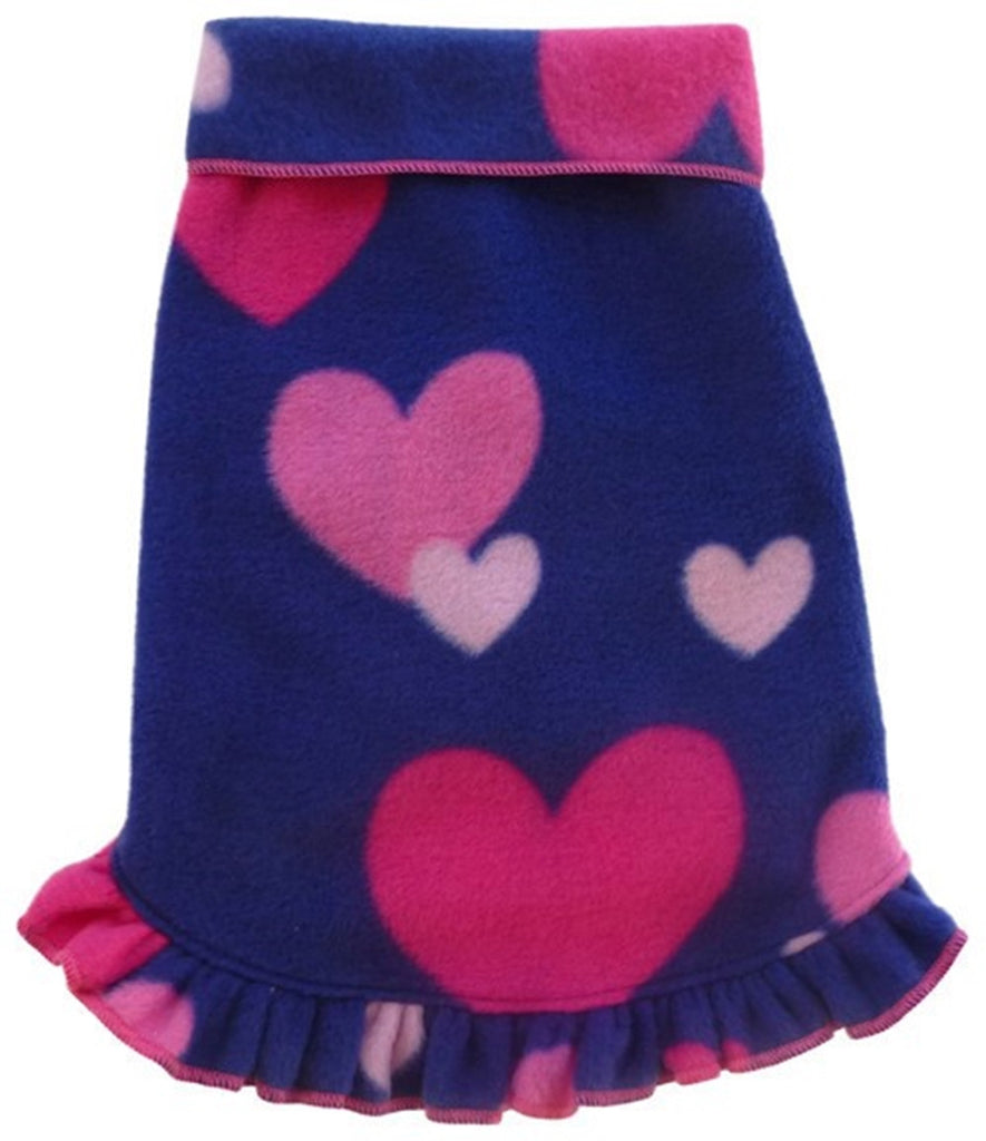 Cozy Fleece Raining Hearts Pullover Ruffled Skirt Tank Dress - in Purple Multi - Daisey's Doggie Chic - 1