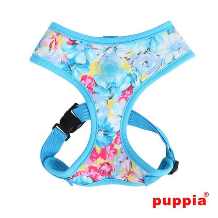 Spring Garden Floral Choke-Free Halter Harness in Color Sky Blue - Daisey's Doggie Chic