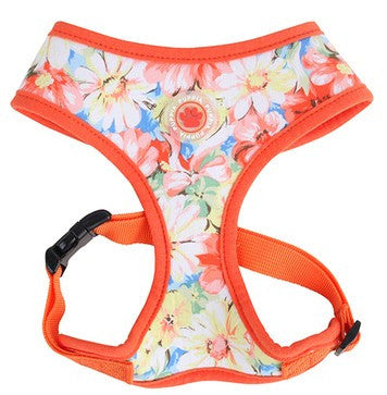 "Puppia ""Spring Garden Floral"" Choke-Free Halter Harness in Color Citrus Orange - Daisey's Doggie Chic - 1"