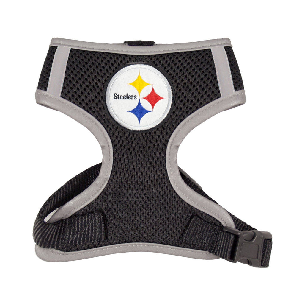 Pittsburgh STEELERS  NFL dog Reflective Harness in Color Black - Daisey's Doggie Chic - 1