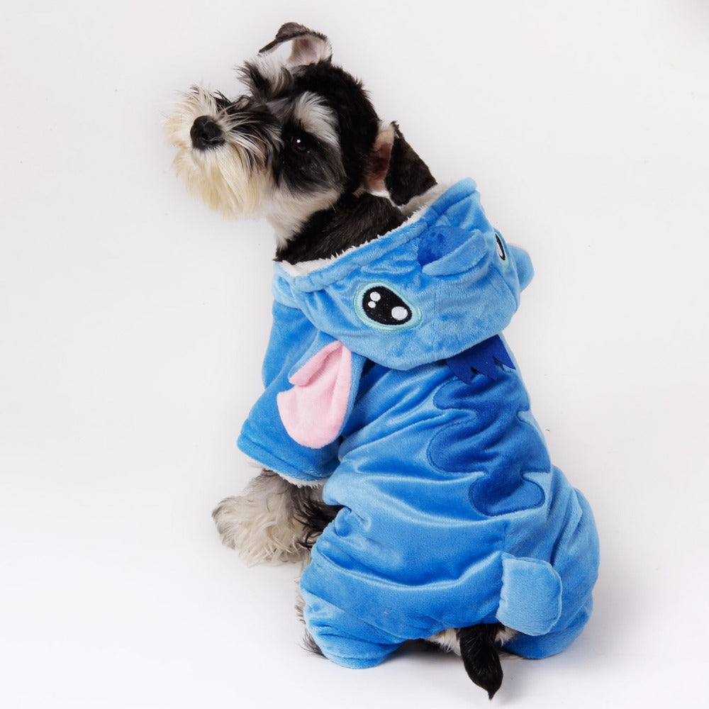 Cute Plush Stitch Character Costume Pajama Coat for Dogs - Color Blue in 5 Sizes - Daisey's Doggie Chic