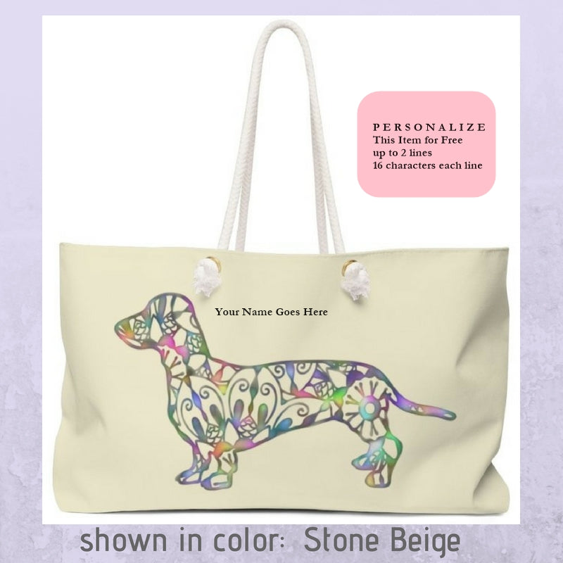 A Dachshund Weekender Bag - Color Stone Beige - Oversized Tote – Free Personalization - Daisey's Doggie Chic