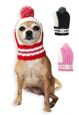 Old School Crown Knit Ski Hat w/PomPom for Dogs in asstd colors: Pink, Gray or Red - Daisey's Doggie Chic