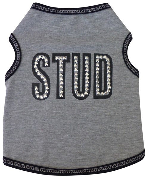 """STUD"" Tank Tee in color Heather Gray - Daisey's Doggie Chic"