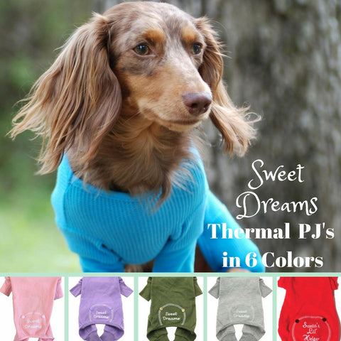 Sweet Dreams Long John Thermal Pajamas in 6 Colors - Daisey's Doggie Chic