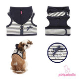 "Pinkaholic NY ""Sweet Pinka""  Wrap-around-Velcro Hooded Harness Vest in Navy Blue Stripe - Daisey's Doggie Chic"