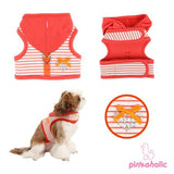 "Pinkaholic NY ""Sweet Pinka"" Hooded Harness Vest in 2 Colors- Tangerine or Navy - Daisey's Doggie Chic"