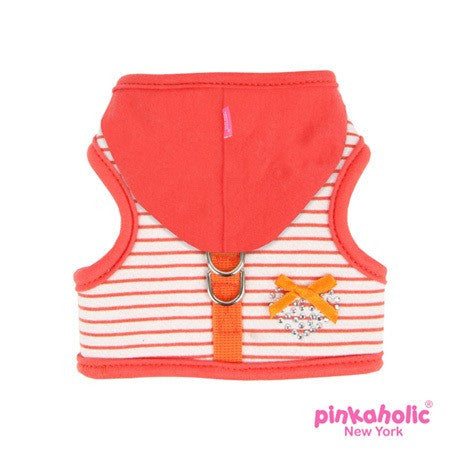 "Pinkaholic NY ""Sweet Pinka""  Wrap-around-Velcro Hooded Harness Vest in Tangerine Orange - Daisey's Doggie Chic"