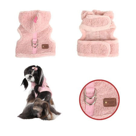 "Pinkaholic NY ""Swishy Pinka Furry""  Faux Sherpa Fur Wrap Hooded Harness Vest in color Pink - Daisey's Doggie Chic"