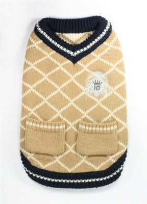 Royal Crest V-Neck Argyle Sweater for dogs in color Cream Mocha - Daisey's Doggie Chic