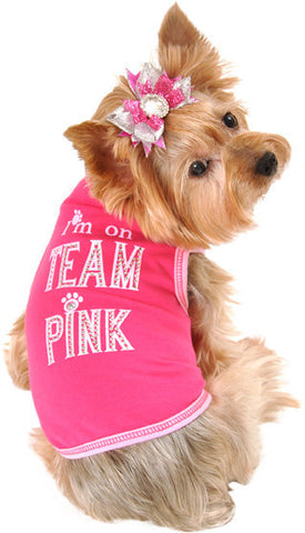 """I'm on TEAM Pink"" Tank in color Hot Pink - Daisey's Doggie Chic"