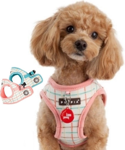 Puppia Tot Plaid Choke-Free, Step-in Harness Vest Jacket with Smart Tag- Choice of  Blue or Pink