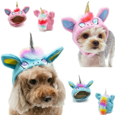 Magical Unicorn Character Hat for Dogs in 2 Colors Pink or Blue - Sizes XS to XL - Daisey's Doggie Chic