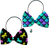 Mermaids & Unicorns  - Fun Party Themed Bowtie 2-Pack set with Charm Accessory for Dogs or Cats - Daisey's Doggie Chic