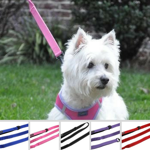 "Soft Pull Traffic Leash with Soft Grip Handle - 4ft plus 6"" stretch extension x 1"" wide - Available in 5 colors"
