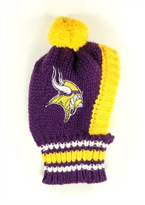 Minnesota VIKINGS NFL Official Licensed Ski Hat for Dogs in color Purple/Gold - Daisey's Doggie Chic