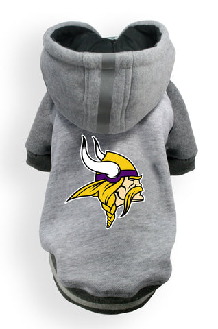 Minnesota VIKINGS  NFL dog Helmet Hoodie in color Athletic Gray - Daisey's Doggie Chic