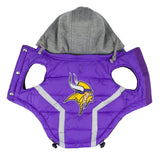 Minnesota VIKINGS  NFL dog Jacket (Puffer Vest) in color Purple - Daisey's Doggie Chic