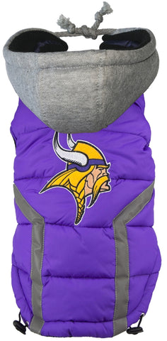 Minnesota VIKINGS  NFL dog Jacket (Puffer Vest) in color Purple - Daisey's Doggie Chic - 1