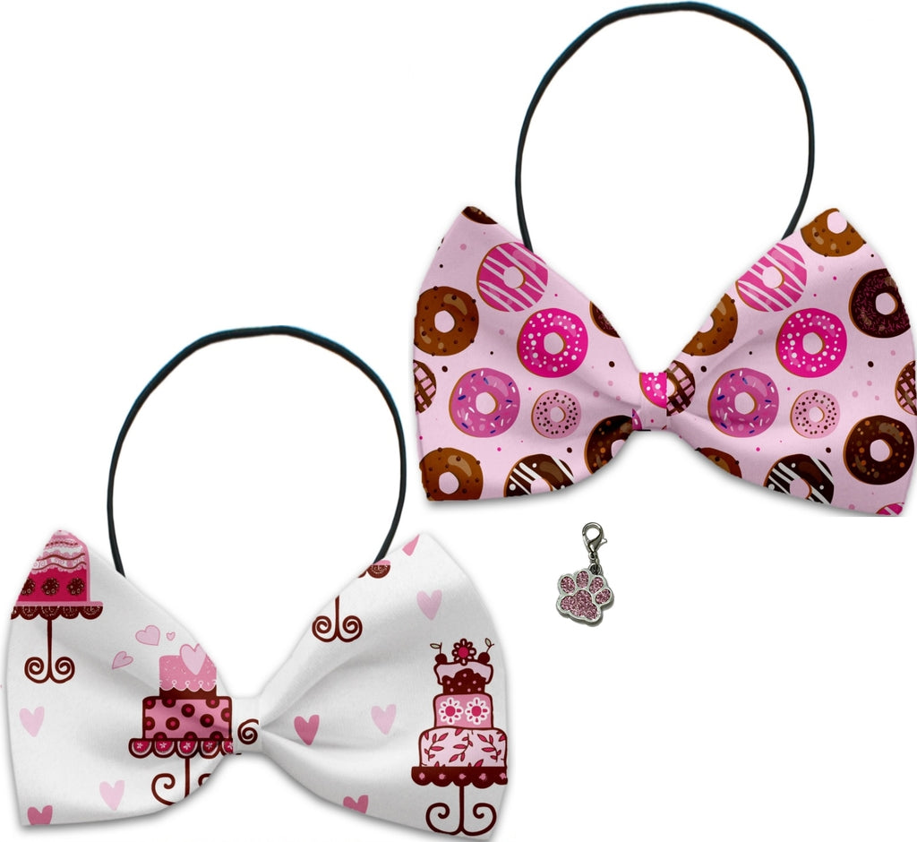 Cakes & Sweets  - Fun Party Themed Bowtie 2-Pack set with Charm Accessory for Dogs or Cats - Daisey's Doggie Chic
