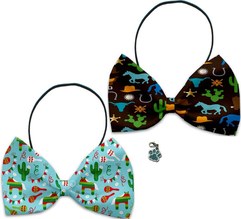 Pinata Fiesta Old Western Style - Fun Party Themed Bowtie 2-Pack set with Charm Accessory for Dogs or Cats - Daisey's Doggie Chic