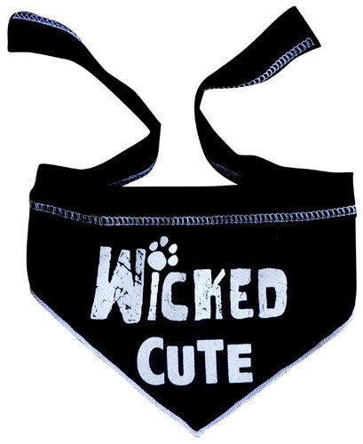 "Cute ""Wicked Cute"" Bandana Scarf in color Black/White - Daisey's Doggie Chic"