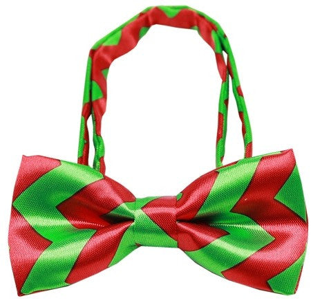 Super Fun & Festive Chevron Bow Tie in Xmas Red/Green - Daisey's Doggie Chic
